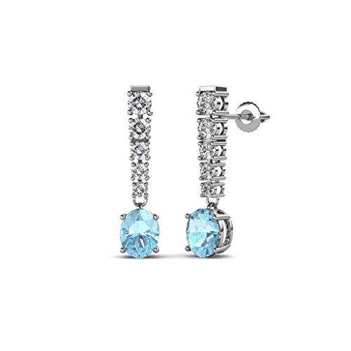 TriJewels Oval Aquamarine and Diamond Journey Dangling Earrings 1.19 ctw in 14K White Gold
