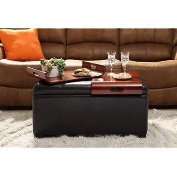 Amazon Com Coaster Casual Dark Brown Faux Leather Storage