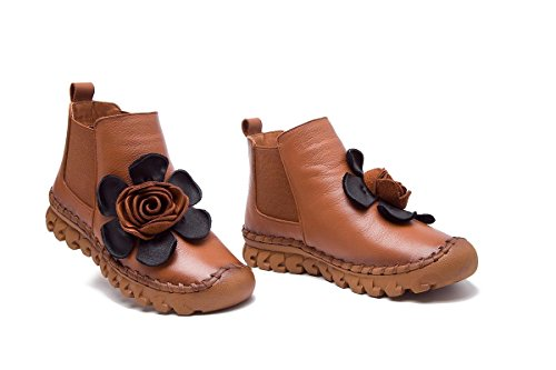 NVXIE Women's Ladies New Flats Shoes Short Boots Leisure Low Heel Round head Genuine Leather Plus Cashmere Warm Non-slip Pumps Fall Winter Party Work BROWN-EUR40UK7 AdOBwC6