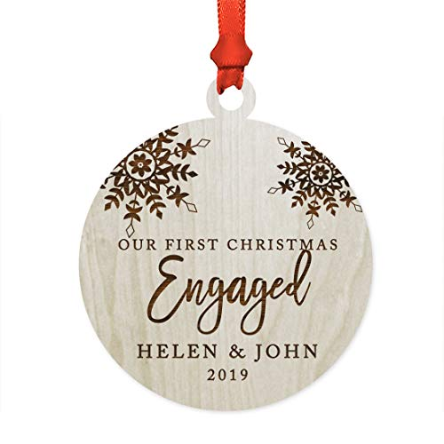 - Andaz Press Personalized Wedding Engagement Laser Engraved Wood Christmas Ornament, Our First Christmas Engaged 2019, Snowflakes, 1-Pack, Includes Ribbon and Gift Bag, Custom Name