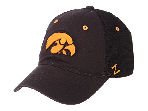 Iowa Hawkeyes Zephyr Dark Gray Black Mesh Homecoming Snapback Slouch Hat Cap