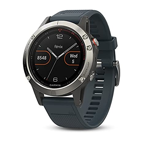 Garmin Fenix 5 Training Watch Silver with Granite Blue Band (Renewed)