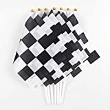 60PCS Checkered Flags Racing Polyester Flags with Plastic Sticks Black & White Racing Flag For Racing, Race Car Party,Sport Events,8 x 5.5 Inch