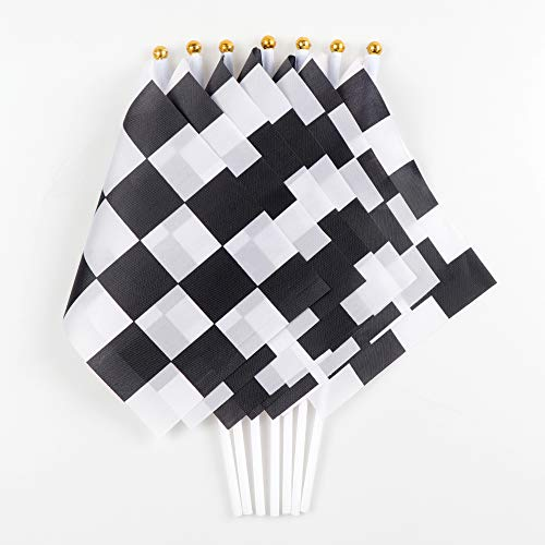 40Pack Checkered Flag Racing Polyester Flags On Plastic