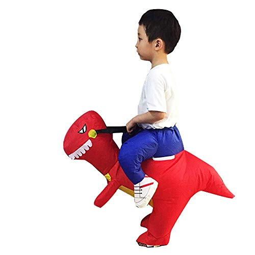 Adult Kids Walking Dinosaur Inflatable Costume Air Suit Inflatable Costume For Halloween Christmas Party Cosplay Masksparty Supplies,Red-80-120cm]()