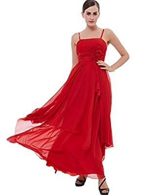 Tanpell Women's A-Line Spaghetti Straps Flowers Ruched Prom Dress