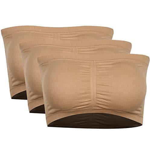 PUREMSX Women's Padded Strapless Bra, Basic Plus Size Tube Bra Bandue Bra Crop Tube Top Bra Sports Bra Without Underwire Sleeping Bra Beige,3 Pack