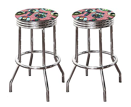The Furniture Cove Bar Stool Set with 2-24″ Tall Swivel Seat Retro Style Chrome Metal Finish Stools with Beatles Pink Music Themed Seat Cushions