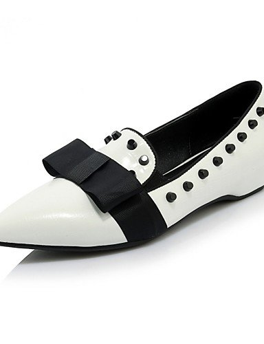 GGX/ Damenschuhe-High Heels-Büro / Lässig-Leder-Niedriger Absatz-Absätze / Spitzschuh-Grün / Weiß / Silber white-us6.5-7 / eu37 / uk4.5-5 / cn37