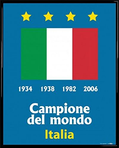 Cup World Italy Champions - 1art1 Football Poster Art Print and Frame (Plastic) - Italy World Cup Champion 1934 1938 1982 2006 (20 x 16 inches)