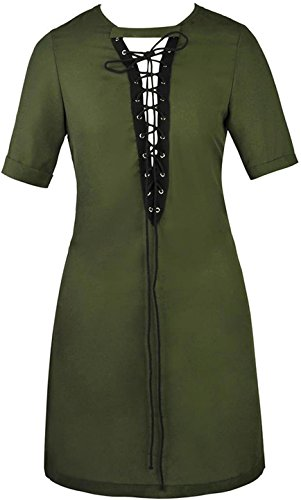 Jeansian Mujer Verano Suelta Blouse Manga Corta Ladies Casual Camisas Tops Vestido WHS412 ArmyGreen