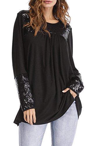 Symptor Womens Crewneck Long Sleeve Plus Size Top Sequins Patchwork Blouse Shirts Black XL