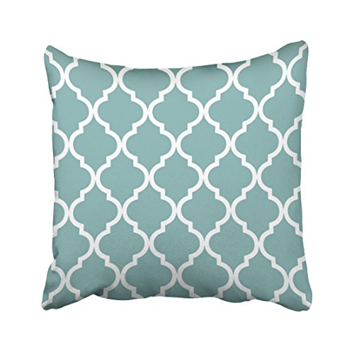 - Musesh Trendy Classic Quatrefoil in sea Glass Blue and White Cushions Case Throw Pillow Cover for Sofa Home Decorative Pillowslip Gift Ideas Household Pillowcase Zippered Pillow Covers 18X18Inch