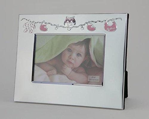 émail rose bébé 4x 6Cadre photo avec motif de hibou rose et décoration de corde à linge Nicheli