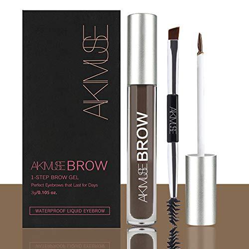 Semi-permanent Eyebrow Gel for Waterproof, 24 Hours Long Lasting, Smudge-Proof, Sweat Resistant, Natural, Tinted Makeup Brow Pen Kit,with Brush (Dark/BLACK-BROWN)