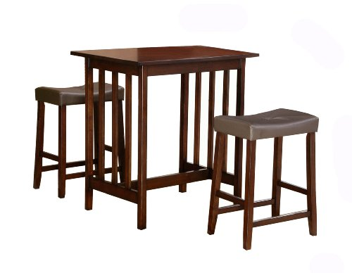 Homelegance Scottsdale 3-Piece Counter Table and Stools, Cherry - 3 Piece Pub Table Stools