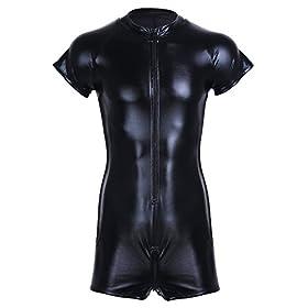 - 411hrGrjXvL - CHICTRY Men's Wet Look Black Leather Bodysuit Catsuit Mesh Splice Clubwear Costumes