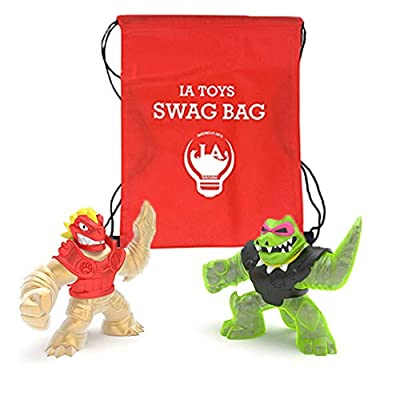 IP Heroes of Goo JIT Zu (2 Pack) Golden Blazagon VS Rock jaw Action Figure Set Bonus: (Swag Bag Stuffed with Extra Toys) for Boys Girls Playtime and Family Fun!: Toys & Games