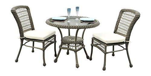 Panama Jack PJO-1301-ATQ-3PB 3 Piece Carolina Beach Bistro Set, Grey