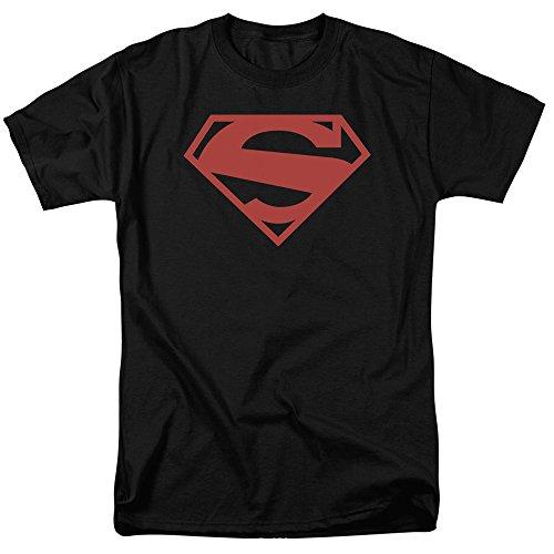 Classic Logo Black Tee - Superman DC Comics Classic New 52 S Shield Logo Red On Black Adult T-Shirt