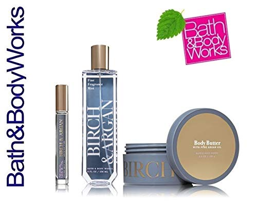 Bath and Body Works Birch & Argan Gift Set - Body Butter - Perfume Oil Rollerball and Fine Fragrance Mist - With Pure Argan Oil - Full Size