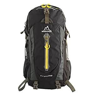 MISSION PEAK GEAR Canyon2400 40L Hiking Daypack Backpack, Backpacking Trekking School Bag, Removable Air Mesh Frame Suspension, Ripstop Nylon, Waterproof Rain Cover, Climbing, Camping, Hiking, Travel