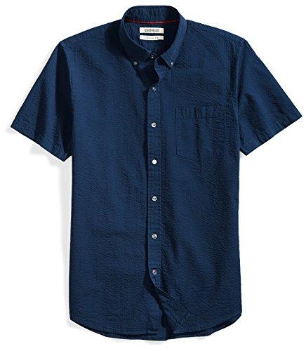 Goodthreads Men's Slim-Fit Short-Sleeve Seersucker Shirt, Solid Navy, XX-Large