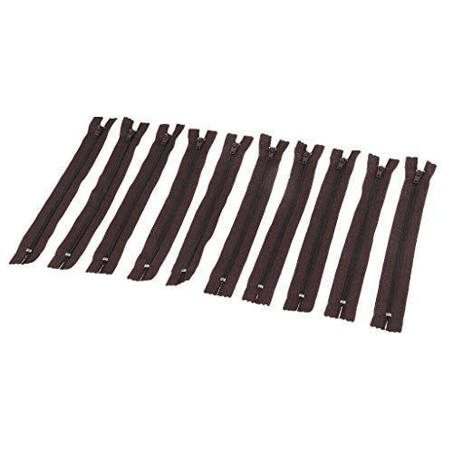 10Pcs Handmade Close End Nylon Invisible Zippers Skirt Sewing Tools 4 Colors (Color - Dark Coffee)