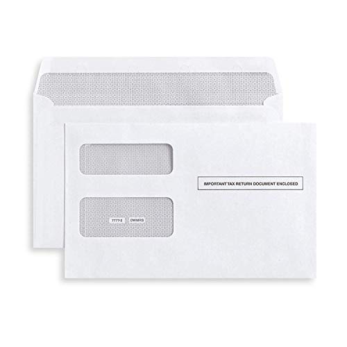100 Tax Envelopes Self-Seal for 1099 MISC and 1099-R & DIV - INT Double-Window Security for Quickbooks or Tax Software - 5 5/8 Inch x 9 Inch,100pk
