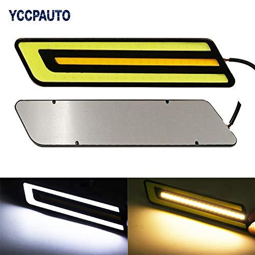 Car Lights Elt Car Drl Daytime Running Lights Led Dual Color Styling External Waterproof White/Yellow Led Light Source Fog Light ()