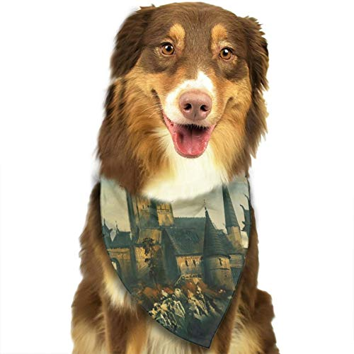 Pet Scarf Dog Bandana Bibs Triangle Head Scarfs Castle of Witch Accessories for Cats Baby Puppy]()