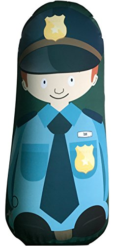 Bonk Fit Inflatable Bop Bag Toy with Standing Punching Bag and Machine Washable Fabric Cover - Police Officer - Working Christmas On Police Officers