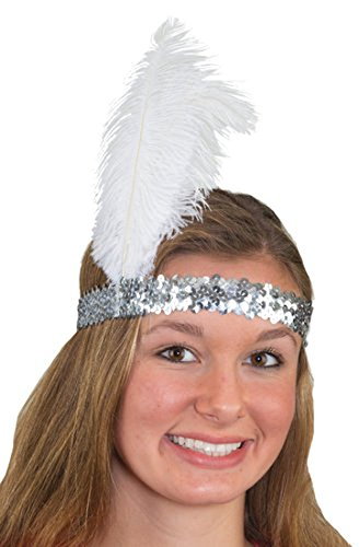 Jacobson Hat Company Sequin Headband with Feather