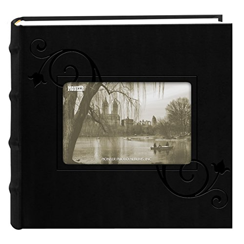 Pioneer Embossed Floral Frame Leatherette Cover Photo Album, Black