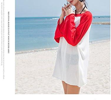 Hueco de Verano Camisa Gasa Crochet,Traje de baño para Playa Ropa de protección Solar de Manga Larga de Bikini-C un tamaño: Amazon.es: Deportes y aire libre