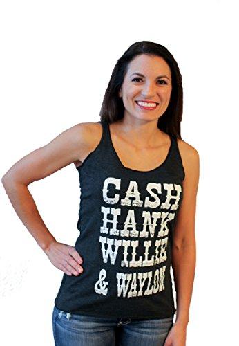 Cash Hank Willie & Waylon by Tough Little Lady Womens Graphic Print Tank Shirt-Cotton ,Black,Large (Hanks Clothing)