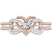 Kumpoon 925 Silver Rose Gold Filled Heart Infinity Rings White Sapphire Wedding Women A (8)