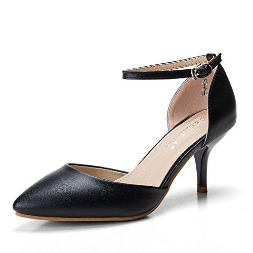 Womens Pump Sexy Strap Dethan Heel Ankle Toe High Pointed Black Sandal A4wXxqOPd