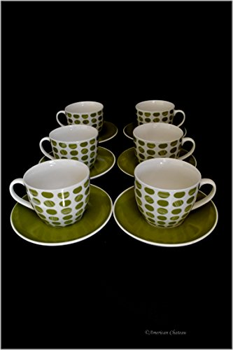 Set 6 Fine Bone China Green Polka Dots 8oz Cappuccino Coffee Cups and Saucers (Green Cappuccino Cup)