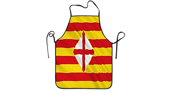 Smbada Delantal de Personalidad Divertida Bandera Provincia de Barcelona Este de España Bandera Provincia de Barcelona Este de España Centro Chef autónomo Delantales de Cocina: Amazon.es: Hogar