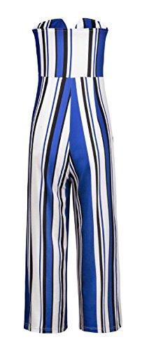 Sommer Einteiler Hose Damen Sexy Bandeau Jumpsuits Rompers mit Bandagen Pants Mode Patchwork Gestreift Overall Strand Playsuit Weite Bein Freizeithose Blau WRcO5RX