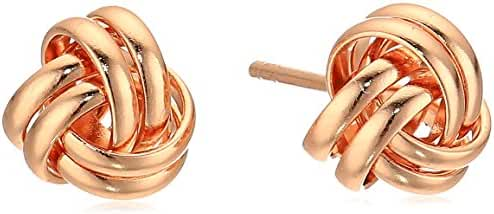 Rose Gold Plated Sterling Silver Thick Love Knot Post Stud Earrings