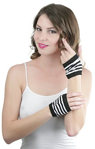 Striped Nylon Gloves (ToBeInStyle Women's Fingerless Fashion Striped Gloves - BLACK/WHITE)