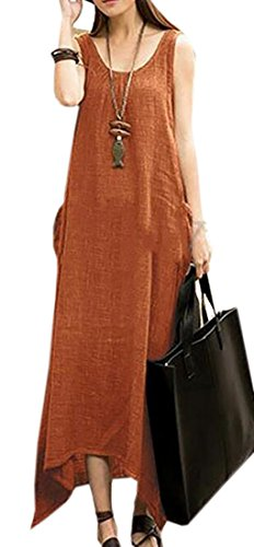 Cotton Orange Domple Slim Women's Tank Dress Maxi Sleeveless Casual Solid Swing Linen Pww1BYqC