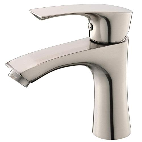 KINGO HOME Commercial Stainless Steel Lavatory Single Handle Single Hole Brushed Nickel Bathroom Faucets, Hot and Cold Water Vanity Sink Faucet