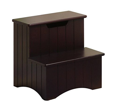 Kings Brand Dark Cherry Finish Wood Bedroom Step Stool With Storage