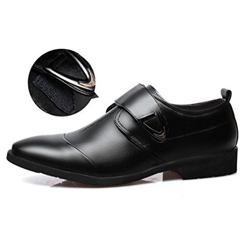 Blivener Men's Formal Leather Wedding Dress Shoes Buckle Velcro Straps Moccasin Monk Shoes Black A3KKqRIM