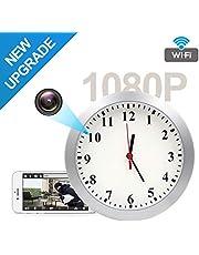 Jiyibidi Upgrade 1080P WiFi Hidden Camera Wall Clock Spy Camera Nanny Cam with Motion Detection Alarm, Indoor Covert Security Camera