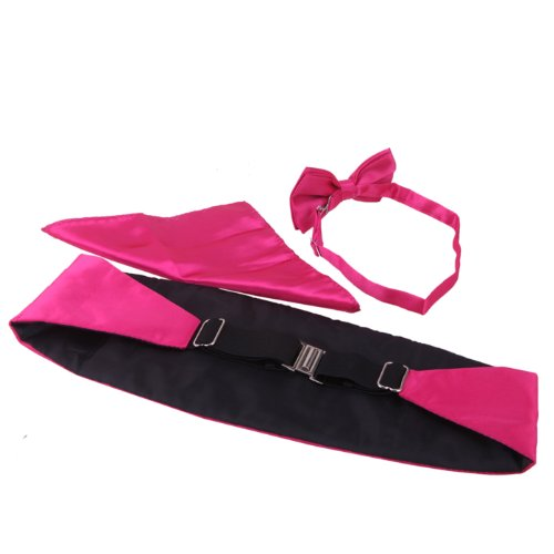 Pocket Cummerbund Blend Tuxedo Square Formal Tie Bow Men's Satin Fuchsia and Set HDE X1vqxa8UwX