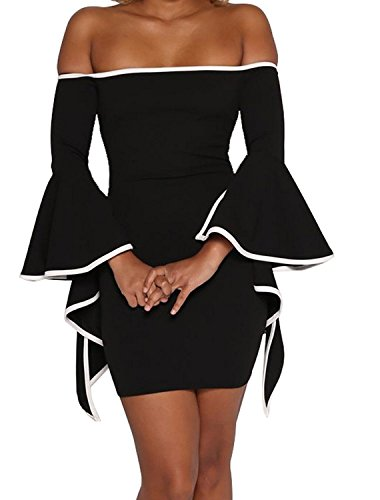 36a9fe1faf1 Bon amixyl Women Sexy Off Shoulder Evening Bodycon Club Party Dress Bell  Sleeve Cocktail Dress